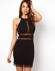Lipsy Body-Conscious Dress with Sheer Inserts