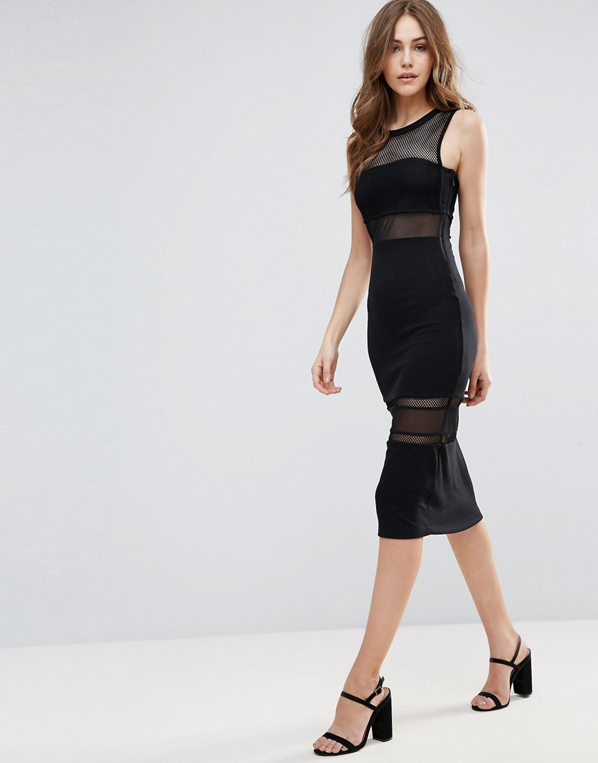 French Connection Manhattan Mesh Insert MIDI Dress - Black
