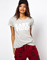 ASOS T-Shirt with Easy Tiger in Towelling