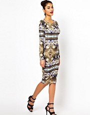 Lipsy Midi Dress in Jewel Print