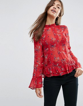 ASOS Victoriana Blouse with Lace Inserts in Red Floral