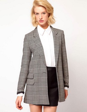Image 1 ofASOS Check Longline Blazer