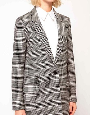 Image 3 ofASOS Check Longline Blazer