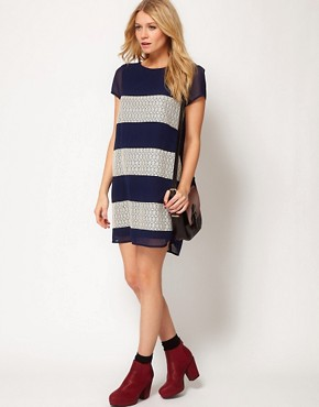 Image 4 ofLove Stripe and Panel Lace Shift Dress