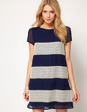 Love Stripe and Panel Lace Shift Dress