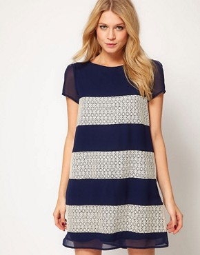 Image 1 ofLove Stripe and Panel Lace Shift Dress