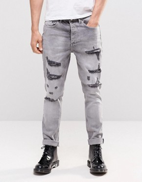 Religion Gore Ripped Jeans in Grey