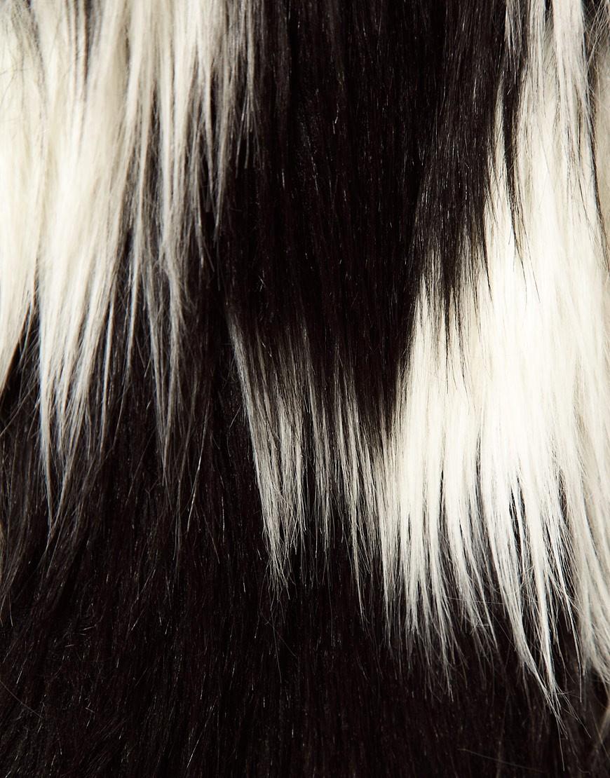 Image 3 ofASOS Oversized Stripe Faux Fur Coat
