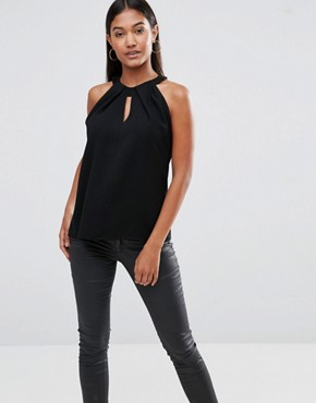 Vesper Sleeveless Keyhole Top With Twist Neck