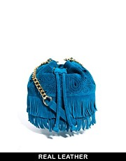 ASOS Leather Duffle With Paisley Cutout And Fringing