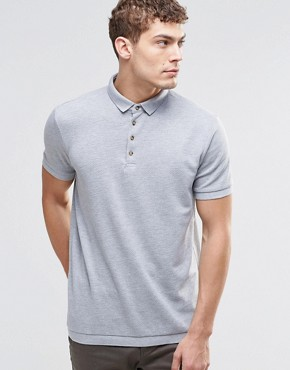 River Island Polo In Grey With Contrast Buttons