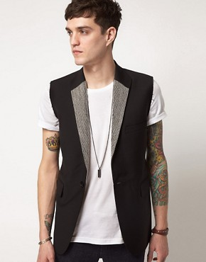 Image 1 of Unconditional Beaded Lapel Sleeveless Jacket
