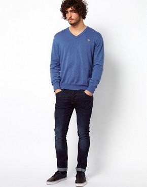 Image 4 ofPaul Smith Jeans Jumper in V Neck with Zebra