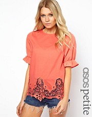 ASOS PETITE Exclusive Smock Top with Crochet Trim