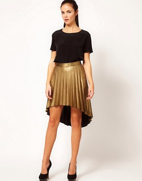Image 1 ofRiver Island Pleated Hi Lo Hem Skirt