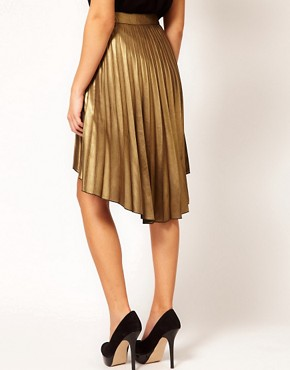 Image 2 ofRiver Island Pleated Hi Lo Hem Skirt