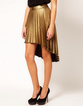 Image 4 ofRiver Island Pleated Hi Lo Hem Skirt