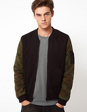ASOS Bomber Jacket With Camo Sleeves