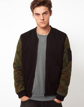 Image 1 ofASOS Bomber Jacket With Camo Sleeves
