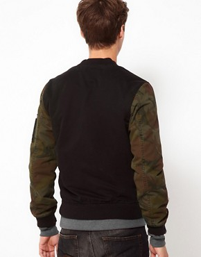 Image 2 ofASOS Bomber Jacket With Camo Sleeves