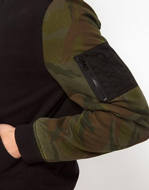 Image 3 ofASOS Bomber Jacket With Camo Sleeves