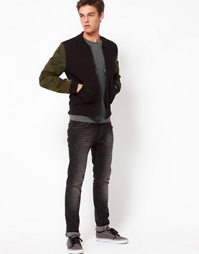 Image 4 ofASOS Bomber Jacket With Camo Sleeves