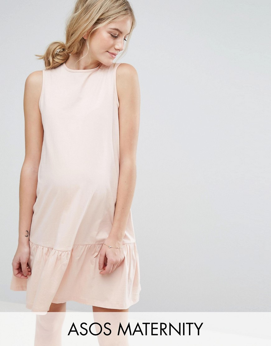 ASOS Maternity Smock Dress with Drop Hem - Pink