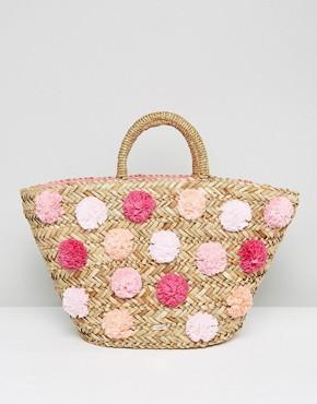 Bolso estilo cesta con detalle de pompones Barliee de Ted Baker