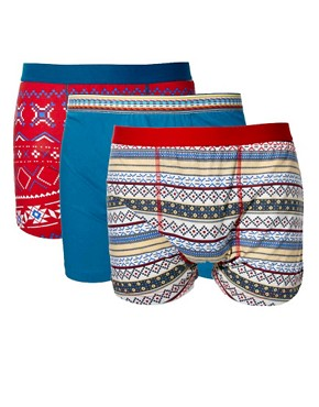 Image 1 ofRiver Island All Over Aztec 3 Pack Trunks