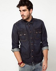 Nudie Shirt Guston Denim Organic Blue
