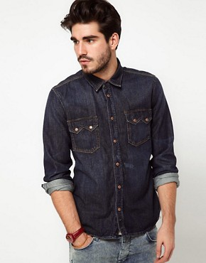 Image 1 ofNudie Shirt Guston Denim Organic Blue