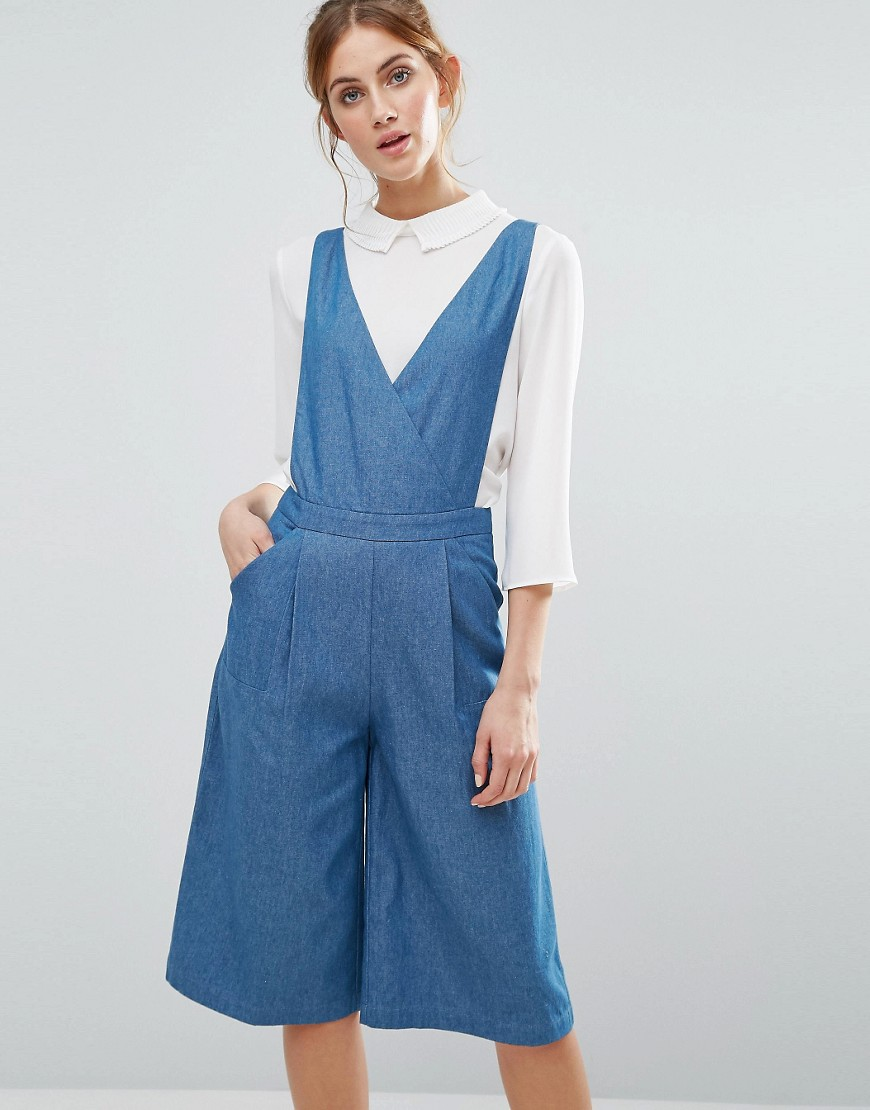 the-english-factory-chambray-cullotte-jumpsuit-blue