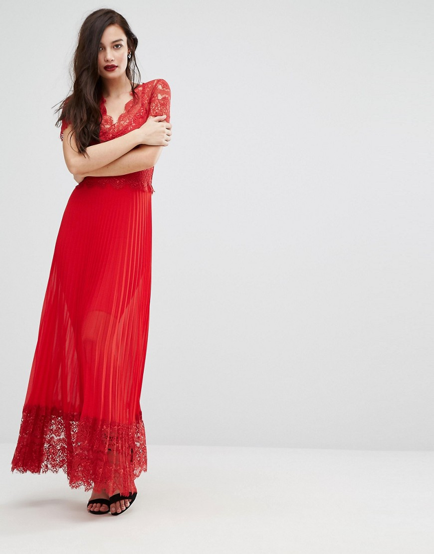 Bodyfrock Pleated Midi Dress with Lace Bodice - Red
