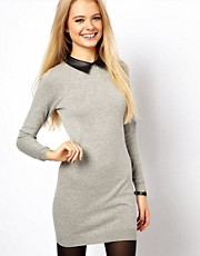 ASOS Jumper Dress With Leather Look Collar
