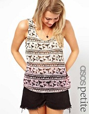 ASOS PETITE Dip Dye Tank In Bird Print