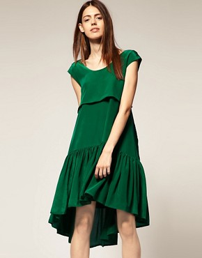 Image 1 ofBorne Nachtigall Layered Midi Dress in Silk Crepe de Chine