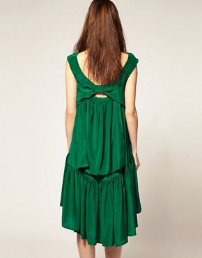 Image 2 ofBorne Nachtigall Layered Midi Dress in Silk Crepe de Chine