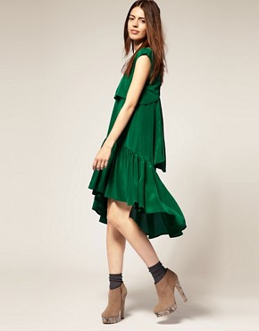 Image 4 ofBorne Nachtigall Layered Midi Dress in Silk Crepe de Chine
