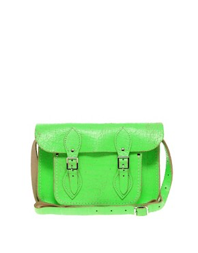 Image 1 ofCambridge Satchel Company Exclusive to Asos 11&quot; Green Fluro Cracked Leather Satchel