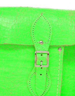Image 4 ofCambridge Satchel Company Exclusive to Asos 11&quot; Green Fluro Cracked Leather Satchel
