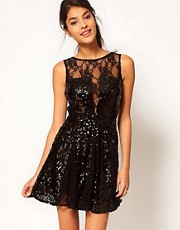 ASOS Skater Dress in Sequin And Lace