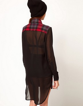Image 2 of Federation Rework Check Shirt Dress With Contrast