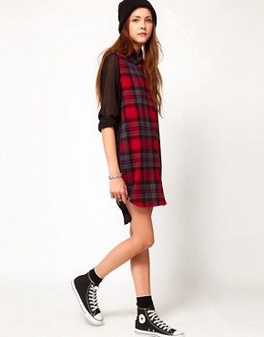 Image 4 of Federation Rework Check Shirt Dress With Contrast