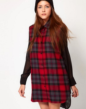 Image 1 of Federation Rework Check Shirt Dress With Contrast