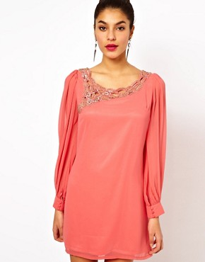 Image 1 ofLittle Mistress Embellished Sheer Sleeve Shift Dress