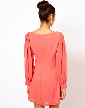Image 2 ofLittle Mistress Embellished Sheer Sleeve Shift Dress