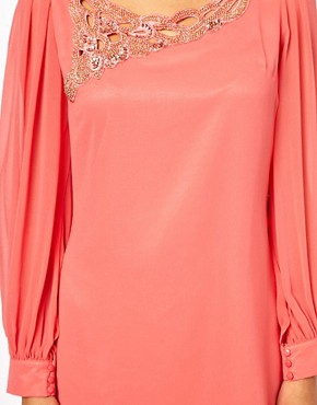 Image 3 ofLittle Mistress Embellished Sheer Sleeve Shift Dress