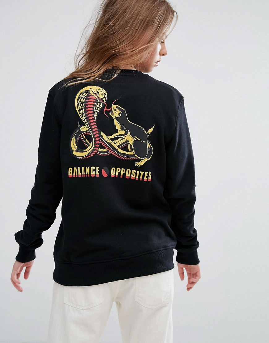 RVCA Boyfriend Sweatshirt With Cobra Print - Rtt