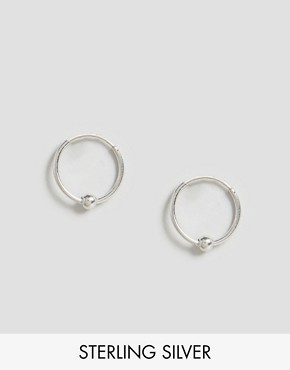 ASOS Sterling Silver Mini Ball Hoop Earrings