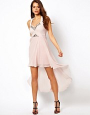 Lipsy Dip Hem Dress with Embellishment
